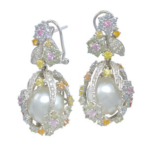 18K WHITE GOLD SOUTH SEA PEARL DIAMOND EARRINGS