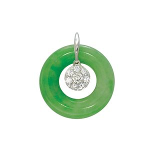 18K WHITE GOLD DIAMOND JADE PENDANT