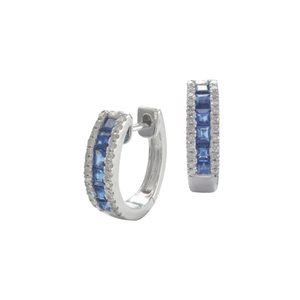 9K WHITE GOLD BLUE SAPPHIRE DIAMOND EARRINGS