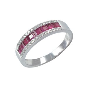 9K WHITE GOLD RUBY DIAMOND RING