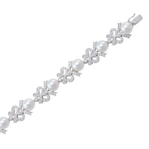 18K WHITE GOLD SOUTH SEA PEARL DIAMOND BRACELET
