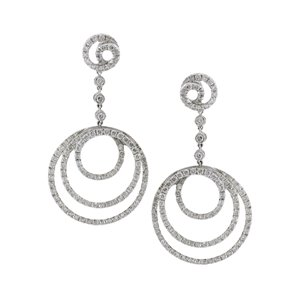 18K WHITE GOLD DIAMOND DANGLING EARRINGS