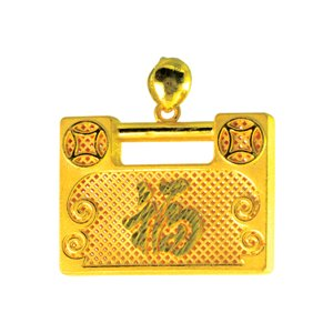 999 PURE GOLD LOCK PENDANT
