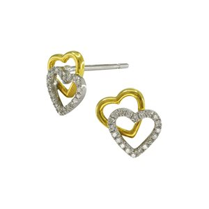 18K WHITE YELLOW GOLD DIAMOND EARRINGS
