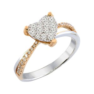 18K ROSE GOLD & WHITE GOLD DIAMOND RING