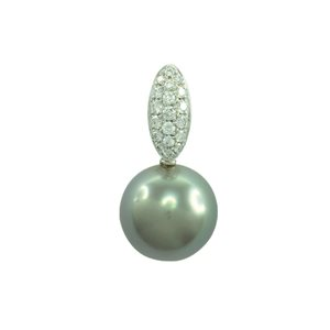 18K WHITE GOLD SOUTH SEA PEARL DIAMOND PENDANT