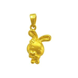 3D 999 PURE GOLD BUNNY CHARM