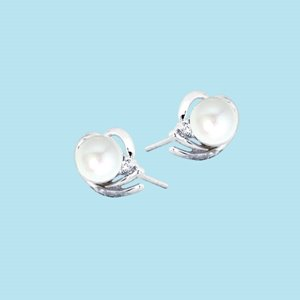 9K WHITE GOLD PEARL DIAMOND EARRINGS
