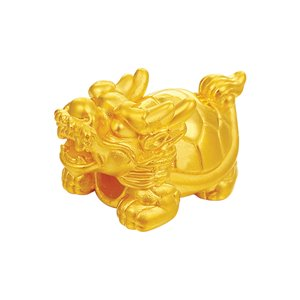 3D 999 PURE GOLD DRAGON-TURTLE CHARM