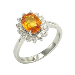 18K WHITE GOLD YELLOW SAPPHIRE DIAMOND RING