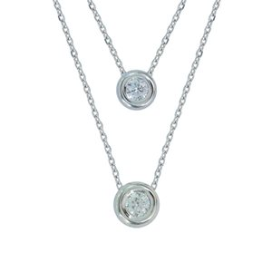 18K DOUBLE LAYERED WHITE GOLD DIAMOND NECKLACE