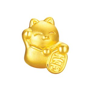 3D 999 PURE GOLD CAT CHARM