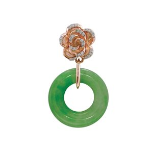 18K ROSE GOLD DIAMOND JADE PENDANT