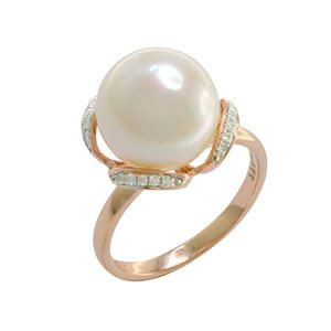9K ROSE GOLD PEARL DIAMOND RING