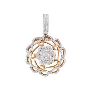 18K ROSE GOLD & WHITE GOLD DIAMOND PENDANT