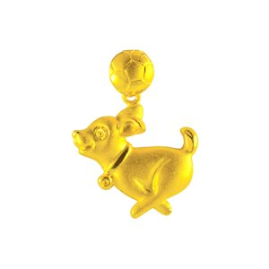 3D 999 PURE GOLD PUPPY PENDANT