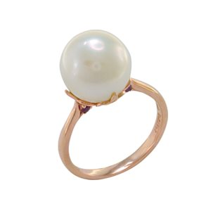 9K ROSE GOLD PEARL RUBY RING