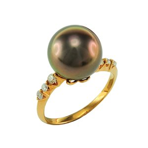 18K ROSE GOLD PEARL DIAMOND RING