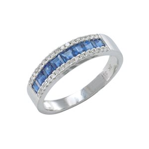 9K WHITE GOLD BLUE SAPPHIRE DIAMOND RING