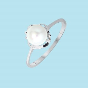 9K WHITE GOLD PEARL RING
